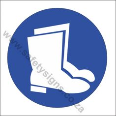 Foot and Leg Protection Safety Sign is used to Inform all workers that Foot and Leg Protection like Gumboots must be worn at all times in this area. Safety, Signs, Security Guard, Shop Signs, Sign, Dishes