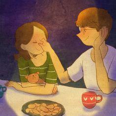 Él: '¡¡¡tu nariz!!! (y jugaba con la nariz de ella)' Ella: '(Bueno, ella sólo pensaba cuán loca estaba por él <3)'