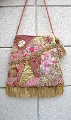 Handbag Crazy Quilt Pink Purse Embroidery by Cathyscrazybydesign