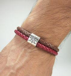 Men Leather Bracelet Brown and Bordo leather multi by ZEcollection