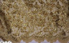 Beaded Gold Lace Fabric Bridal Lace Fabric with Gold by lacetime