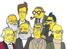 In basso (da sinistra): Immanuel Kant, Karl Marx, Roland Barthes, Michel Foucault  In alto (da sinistra):Socrate, Ludwig Wittgenstein, Jean-Paul Sartre, Friedrich Nietzsche
