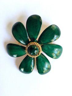 Sandor Green Vintage Flower Brooch by MtLaurelTreasures on Etsy, $21.00