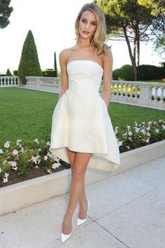 Simple Strapless A-line Satin High-low Wedding Dress