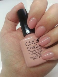 CND Shellac Nude Knickers A semi-sheer colour with a peachy pink finish. A nice option for nude nails.
