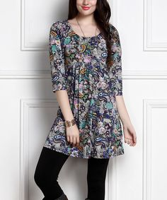 Another great find on #zulily! Blue & Teal Floral Empire-Waist Tunic Dress - Plus Too #zulilyfinds