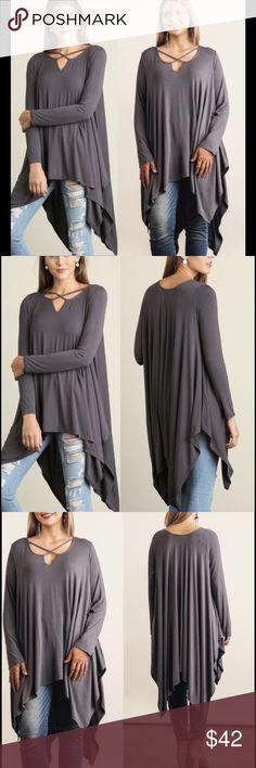 🎁15% OFF BUNDLES🎁 CHARCOAL CRISSCROSS TUNIC Long sleeve charcoal/ash  tunic. Handkerchief hem. Cotton blend. Soft and comfy. True to size. Tops Tunics