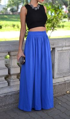 Black Cropped Top With High Waist Royal Blue Maxi Skirt