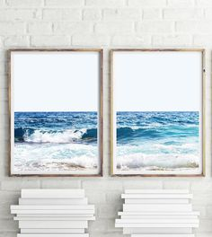 Ocean Set of 2 Prints Ocean Waves Art Seascape Print Large Ikea, Affordable Wall Art, White Wall Art, Wave Art, White Prints, Surf Art, Wall Prints, Nursery Prints, The Ranch