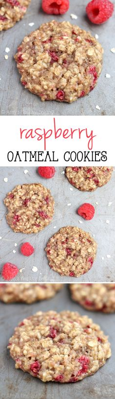 Clean-Eating Raspberry Oatmeal Cookies these skinny cookies. Clean-Eating Raspberry Oatmeal Cookies these skinny cookies dont taste healthy at all! Youll never need another oatmeal cookie recipe again! Clean Eating Desserts, Just Desserts, Delicious Desserts, Dessert Recipes, Yummy Food, Healthy Cookies, Healthy Sweets, Healthy Baking, Healthy Food