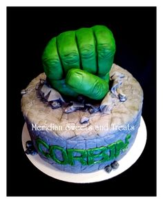 "Hulk ""SMASH"" cake by fb page ""Meridian Sweets and Treats."" Hulk hand is RKT. https://www.facebook.com/MeridianSweetsAndTreats/"