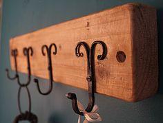 Reclaimed Wooden Rams Horn Wall Hook