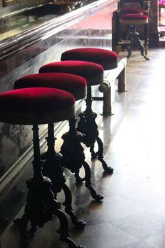Laduree, Paris (These bar stools, yes. love the velveteen and the stool and the detail of the stepping bar beside the stools)invites conversation Red Bar Stools, Bar Chairs, Vintage Bar Stools, Room Chairs, Steampunk Bar, Laduree Paris, Steampunk Furniture, Steampunk Interior, Steampunk Home Decor