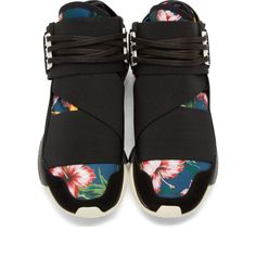 Y-3 Black Suede-Trimmed Elastic Qasa High Sneakers