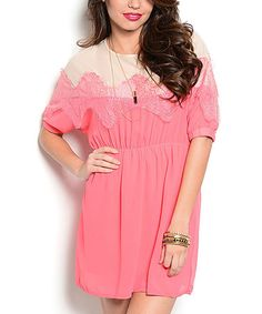 Look at this Coral & Beige Eyelash Lace Silk-Blend Dolman Dress on today! Beige Dresses, Cute Dresses, Country Boutique, Lace Silk, Country Outfits, Dresser, Cold Shoulder Dress, Coral, Feminine