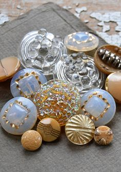 Vintage glass and gold buttons