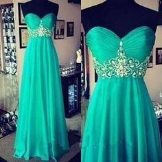 Elegant Evening Dresses, Long Green Evening Dresses,Cheap Evening Dresses,A-line Sweetheart Evening Dresses