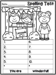 Freebie Spring Spelling Test Templates  Tpt Free Lessons