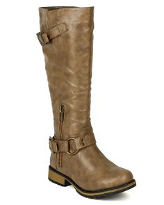 Nature Breeze BD54 Women Leatherette Knee High Harness Riding Boot - Khaki *** Read more reviews of the product by visiting the link on the image.