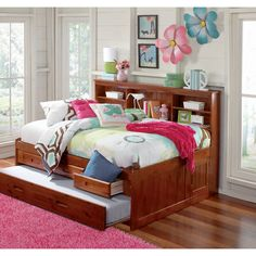 American Full Sized Daybed - 3 Drawers and Twin Trundle (Full trundle in Merlot finish with 3 drawers), Brown