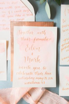 Copper + blush calligraphy invitations: http://www.stylemepretty.com/2016/04/15/this-is-how-you-weave-a-touch-of-copper-in-your-wedding/ | Photography: http://deborahzoephoto.com/ + http://shannongrantphotography.com/