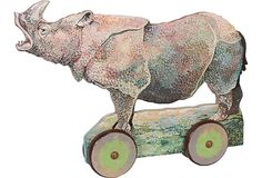Hand-Painted Wood Rhino on OneKingsLane.com