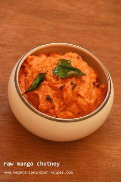 raw mango chutney without coconut - easy to make and tasty side dish for rice. #indianfood #food #recipes #chutney #mango