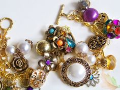 Expressive Colors  Vintage Charm Bracelet by MMVintageSweets