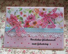 Valentinstagskarten - Karte zum Geburtstag mit Libellen - ein Designerstück von Wollzottel bei DaWanda