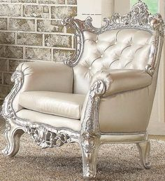 Neo Classic Glitzy Silver Accent Chair By Acme Furniture for a room with all light tones for a princess