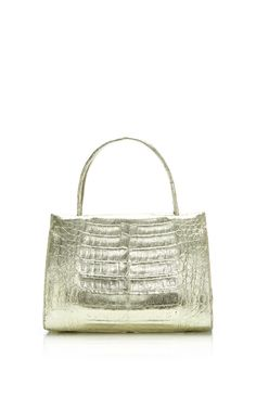Gold Mini Top Crocodile Handle Bag by Nancy Gonzalez for Preorder on Moda Operandi