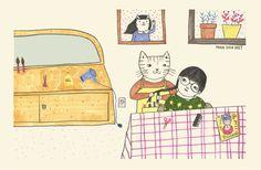 Paula Sosa Holt illustration  cats haircut