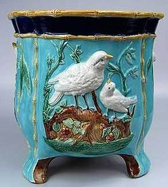 Majolica Birds on Nest Jardiniere ~ English ~ Century ~ unattributed Glazes For Pottery, Ceramic Pottery, Pottery Art, Vintage Pottery, Vintage Antiques, Earthenware, Stoneware, Vases, Pottery Making