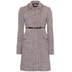 Miu Miu Wool Coat With Embellished Collar (23,640 MXN) ❤ liked on Polyvore featuring outerwear, coats, jackets, miu miu, coats & jackets, ebano, trapeze coat, wool swing coat, faux coat and woolen coat