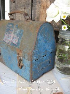 Antique Blue Lunchbox ..... SweetMagnoliasFarm ... Etsy... sold