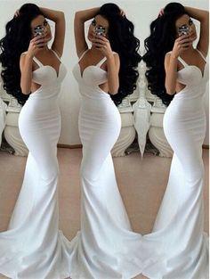 Mermaid Sheath Prom Dress,White Prom Dresses,Long Evening Dress