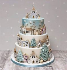 Christmas Cake Designs, Christmas Cake Decorations, Christmas Sweets, Holiday Cakes, Christmas Cooking, Christmas Cakes, Gorgeous Cakes, Pretty Cakes, Amazing Cakes