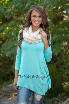 The Pink Lily Boutique - Mint Side Button Tunic, $34.00 (http://thepinklilyboutique.com/mint-side-button-tunic/)