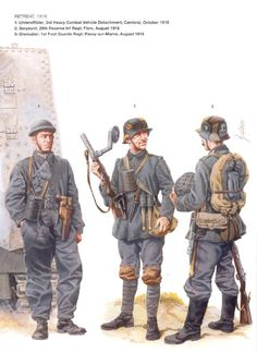 The German army in 1918, their uniforms include the stalhelm and the first submachine guns