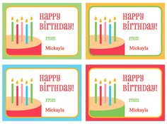 Cute free printable tags for birthday party gifts. Personalize the tags with a name before printing.