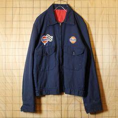 REDKAP USA製 古着 ワークジャケット ネイビー Gulfワッペン 裏地キルティング TALON ジップアップ メンズM相当