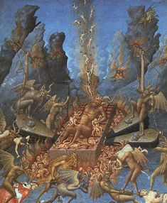 "painting of hell by the Limbourg brothers in ""Les Tres Riches Heures - a prayer book of the Duc de Berry"" printed in 1416."