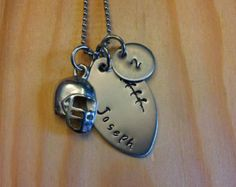 Hand Stamped Necklace Personalized Jewelry Football Mom Necklace with Name & Number