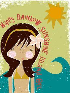 Happy Rainbow Sunshine Island Girl!   Digital Illustration of Surfer, Beach Girl  © jan avellana, janavellana.com