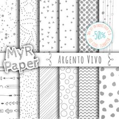 "Silver Digital Paper: ""Silver"" Argento Vivo, Instant Download, Silver & White, with Chevron, Triangles, Polka Dots and more...  50% OFF ON ORDERS OVER 12 $ (OR NEARLY 12 €)... #patterns #design #graphic #digitalpaper #scrapbooking"