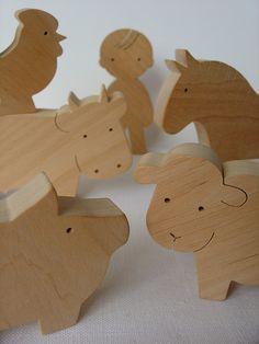 Farm Animal Set  Waldorf wooden toys  Handmade by mielasiela, $42.00