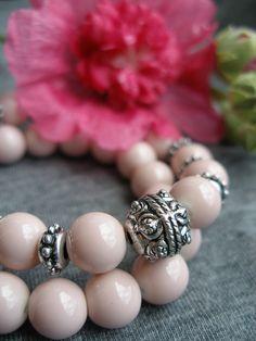 Silver & pink glass bracelet