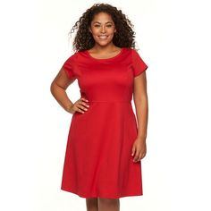 Plus Size Apt. 9® Ponte Fit & Flare Dress