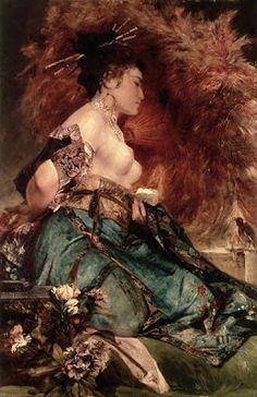 Japonisme. Paintings of Beautiful Women. Hans Makart. Japanese Girl