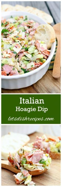 Italian Hoagie Dip Recipe All your favorite sub sandwich fixings in a delicious and easy to eat dip. Such a fun appetizer! Hoagie Dip, Hummus, Pilsbury Recipes, Onigirazu, Pepperoni Recipes, My Burger, Football Food, Snacks, Appetizer Recipes